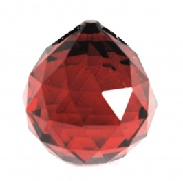 Red Round Multi Faceted Crystal