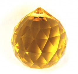 Yellow Round Multi Faceted Crystal